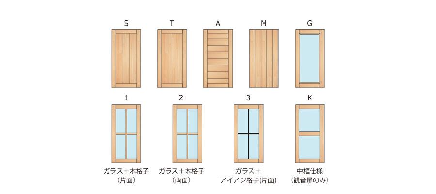 扉のデザインは6種類から選択可能!